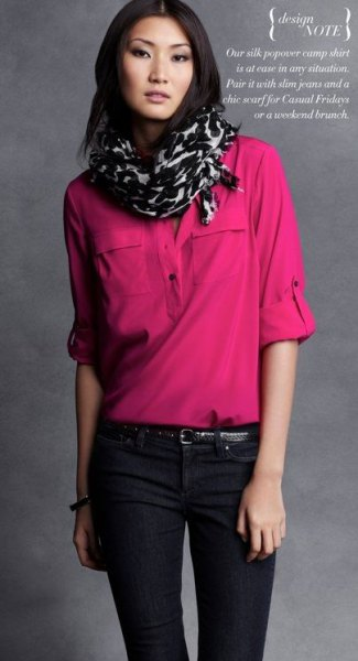 blush chiffon half-heated blouse with black and white printed scarf
