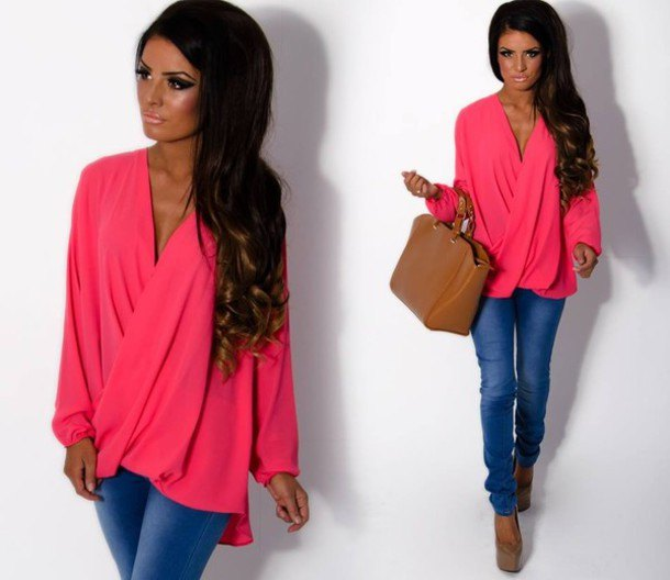 blush draped wrap blouse with blue jeans