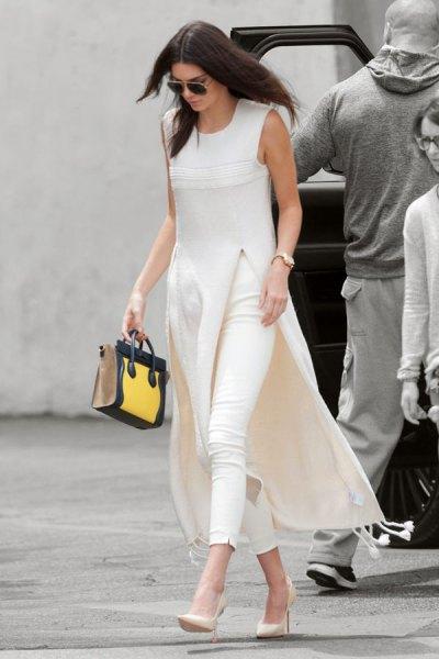 white sleeveless maxi length with tunic with slit