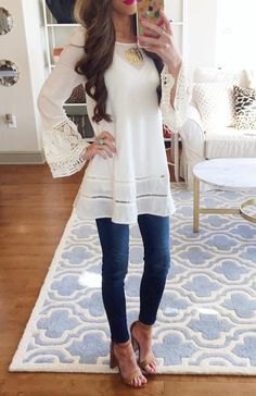 white watch sleeve long tunic blouse with heel sandals