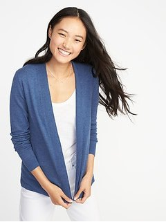 blue knitted cardigan with white tee and matching jeans