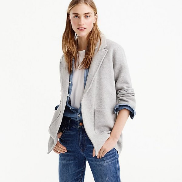gray blazer with chambray button closure and blue jeans