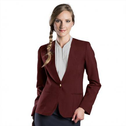 burgundy blazer with pink pink collar without blouse and black pencil skirt