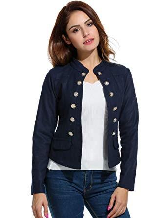 black button knit blazer with blue skinny jeans