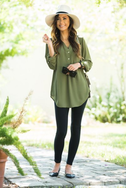 green button up chiffon dress tunica blouse with black leggings