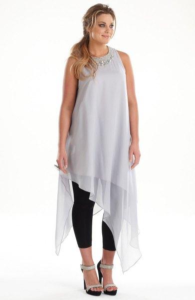 gray chiffon high low sleeveless long dress with tunic