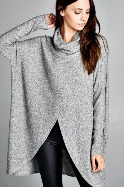 gray turtleneck Tunic sweater with black skinny leggings