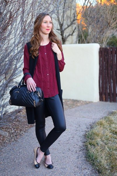 burgundy button up dress with tunic with black leather pants