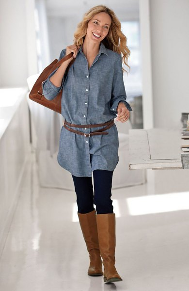 chambray button up belted long shirt with leggings and knee-high boots