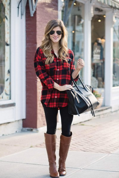 red and black checkered long boyfriend shirt with brown leather shoes