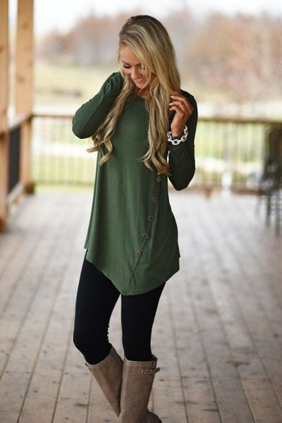 olive green asymmetrical button up long shirt with leggings and knee high boots
