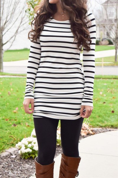 black and white striped long sleeve t-shirt with leggings