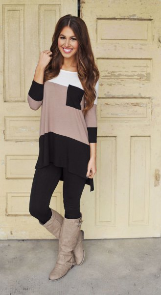 color block long tee with black leggings and gray leather shoes