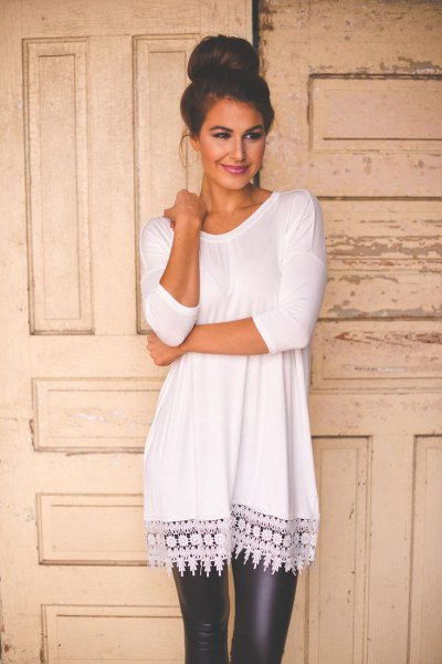 white crochet lace tunic long top with black leather leggings