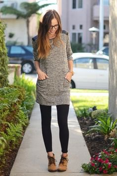 Heather gray extra long tunic top with black leggings