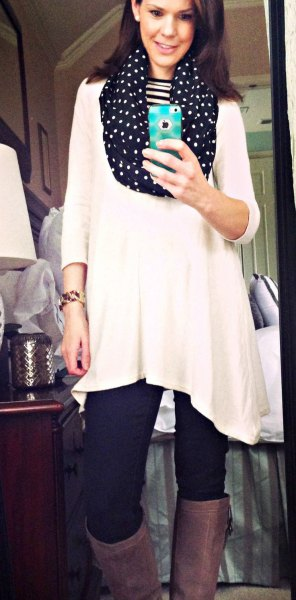 white tricot sleeve tunic top with black polka dot infinity scarf