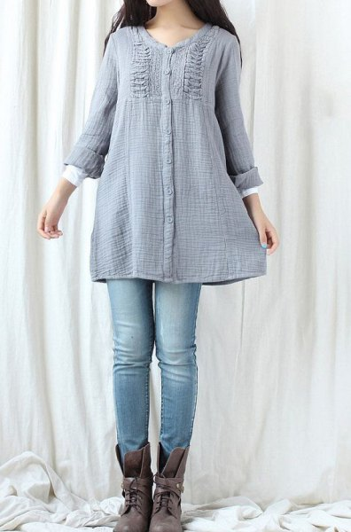 teal tuch topped cotton with light blue jeans