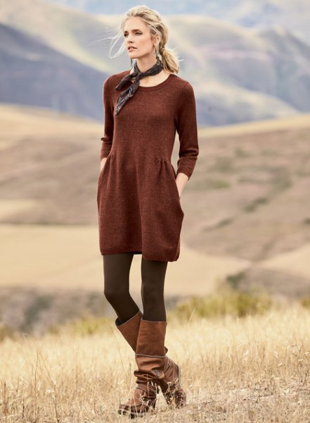 red cotton scoop in cotton at the waist with socks and boots