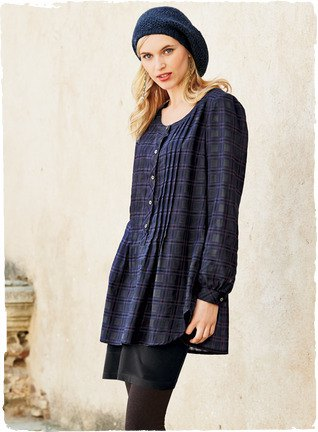 navy checkered button up long top with black leggings