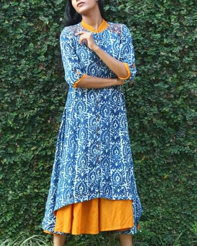 blue and white stem printed long tunic top with mustard yellow dress