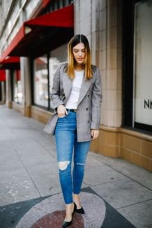 gray oversized casual blazer with white tee and blue jeans