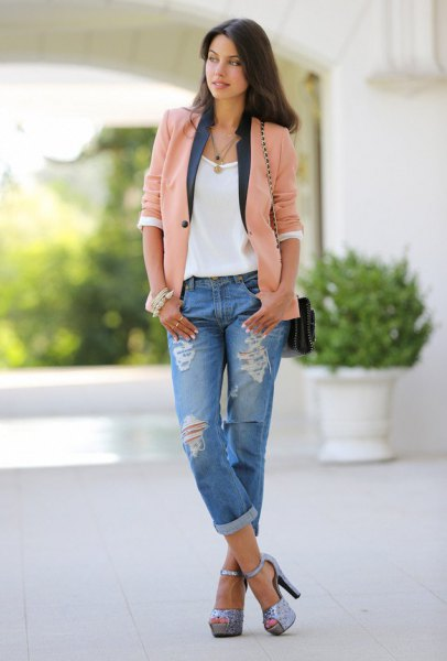 rouge pink casual blazer with white tee and boyfriend jeans