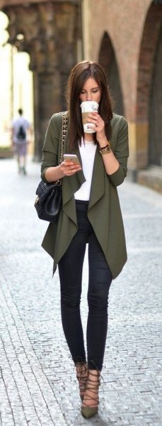 gray draped blazer with white top and dark blue skinny jeans