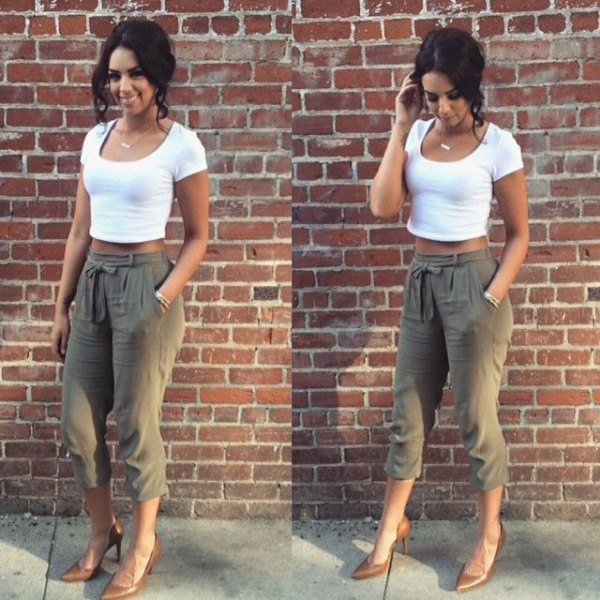 white shape matching cropped t-shirt with green cropped jogs