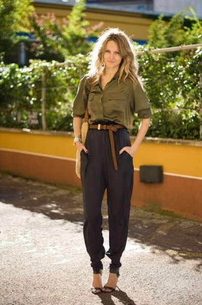 green silk button shirt with black khaki jogs