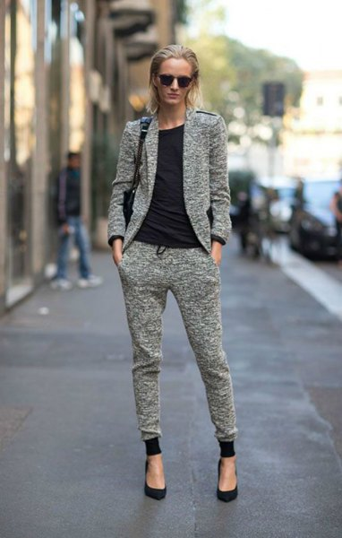 gray heather gray sweat blazer with matching joggers sweatpants