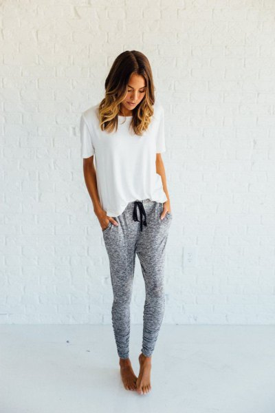 white t-shirt with gray joggers