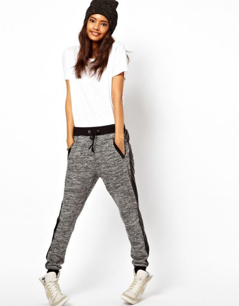 white t-shirt with gray hat and matching jogging pants