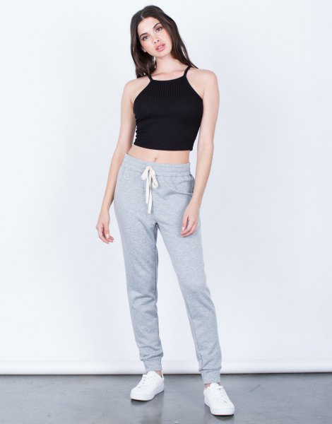 black grass cutter top with gray joggers