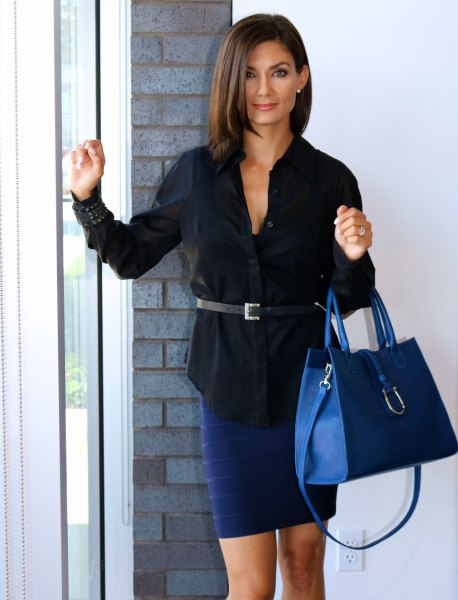 black belt shirt with navy blue pencil skirt and matching leather handbag