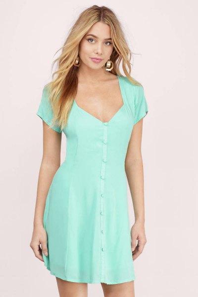mint green deep v-neck short-sleeve button front dress
