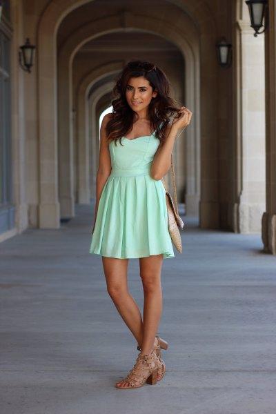 light green sweetheart neckline dress with round heels