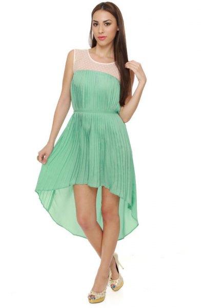 mint green sleeveless pleated high low midi circular dress