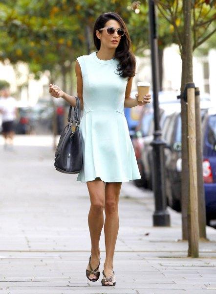 super light green sleeveless mini-skater dress