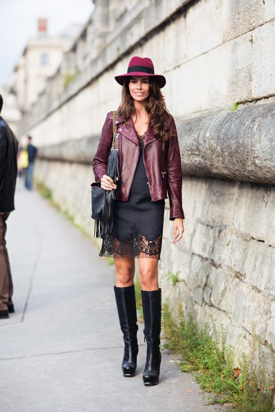 leather blazer with mini black shift dress and felt hat