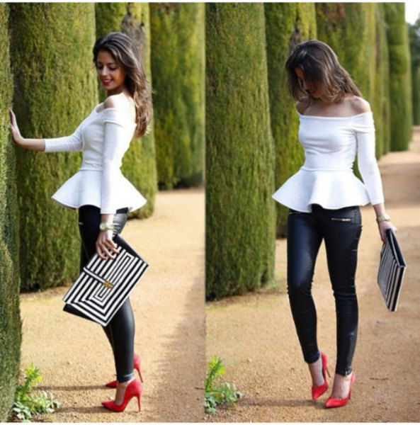 white from the shoulder's long-sleeved peplum top with black leather pants