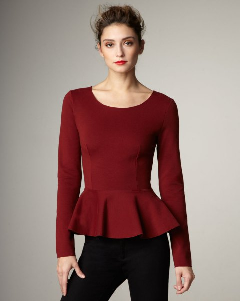 burgundy long sleeve top with black jeans