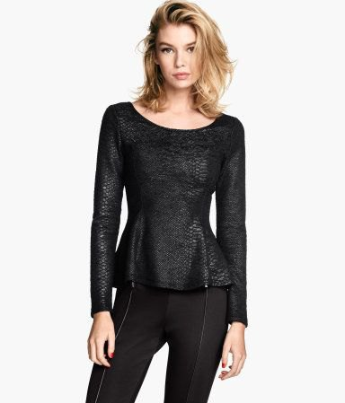 black shoe neck leather with long sleeve top