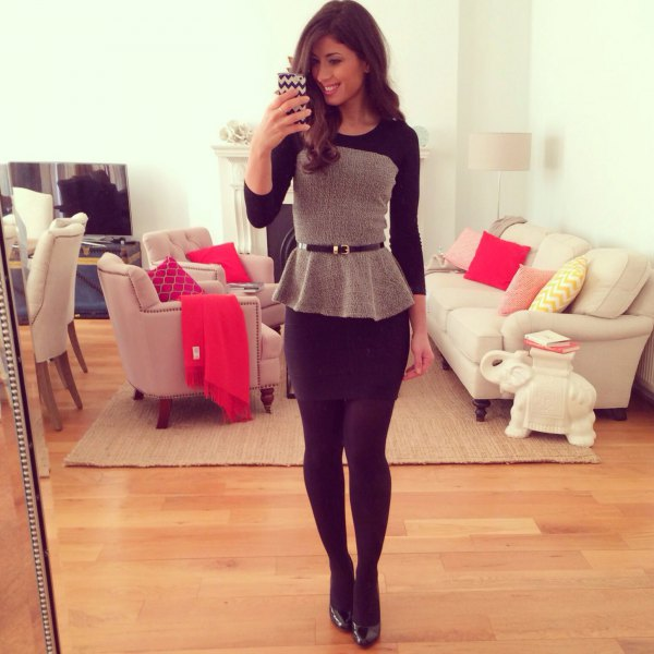 gray and black color block with belt in peplum with mini skirt