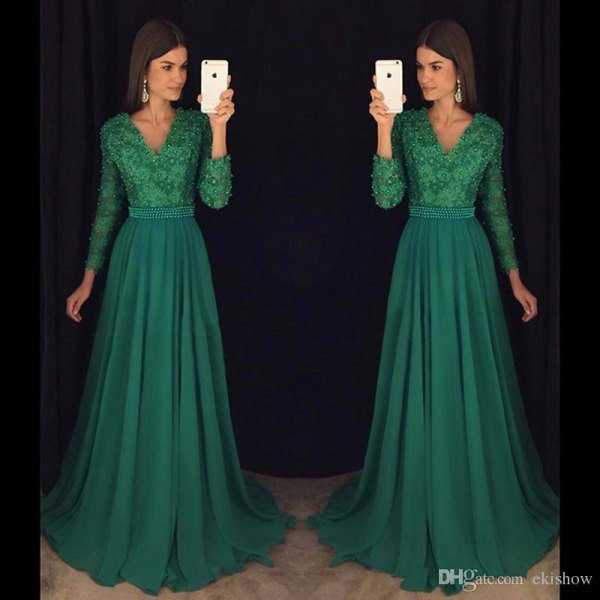 green two toned lace and chiffon floor length flowing dress