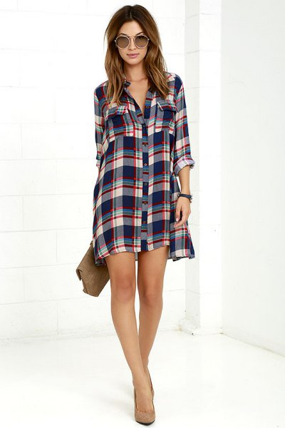 green and white plaid button up mini dress dress