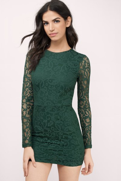 deep green lace long-sleeved bodycon mini dress