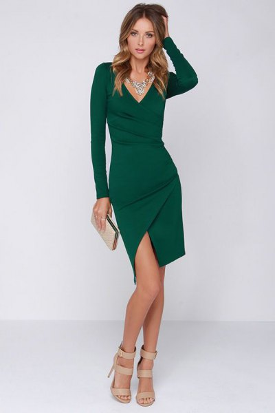 deep v-neck dark green bodycon mini wrap dress with slit