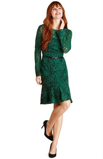 lace with long sleeves, belt in knee length dress with black heels