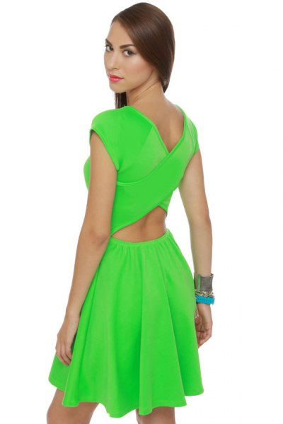 lime green cut out miniature dress