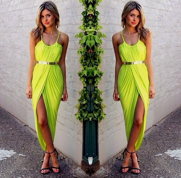 green spaghetti strap belt maxi high split dress